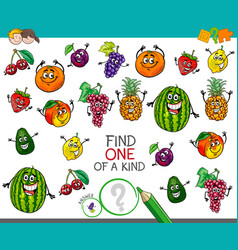 One a kind activity with fruit characters vector
