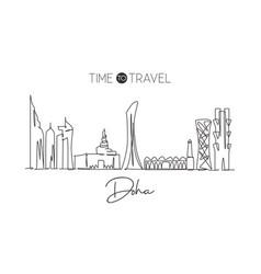 one single line drawing doha city skyline vector image