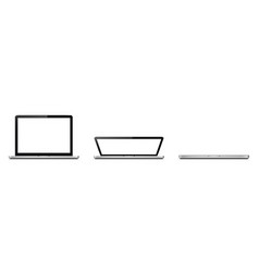 Open and closed laptop laptop lid vector