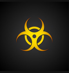 Orange biohazard symbol on black background vector