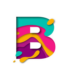 Paper cut letter b realistic 3d multi layers vector