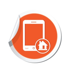 phone home icon orange sticker vector image