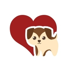 puppy adorable pedigree red heart vector image vector image