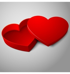 Realistic blank red opened heart shape box vector
