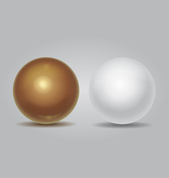 Realistic white sphere and golden ball vector image