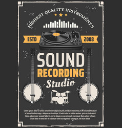 recording studio and music instruments vector image