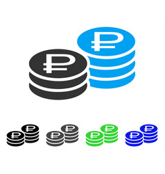Rouble coin stacks flat icon vector
