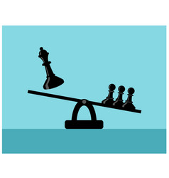 Scales with chess pieces queen and pawns vector