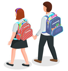 School kids with backpacks boy and girl in unifrm vector
