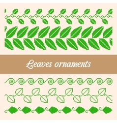 Seamless ornaments of the pixel green leaves vector