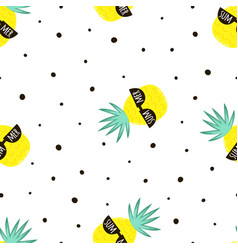 seamless pattern with cute cartoon pineapple vector image