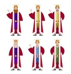 Set flat king ikons vector