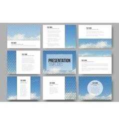 Set of 9 templates for presentation slides Blue vector image