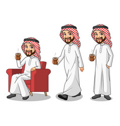 Set of businessman saudi arab man making a break vector