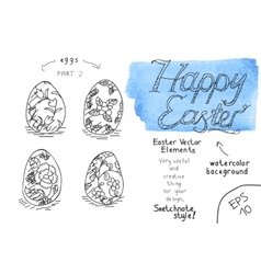 Set of eater eggs 2 vector