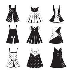 Set of kid girl dress icons vector