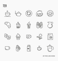 set of tea and tea drinking related thin line icon vector image vector image