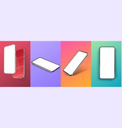 set realistic smartphone mockup modern vector image