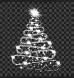 Silver particle wave in form of christmas tree vector