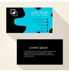 simple blue spot black business card design eps10 vector image