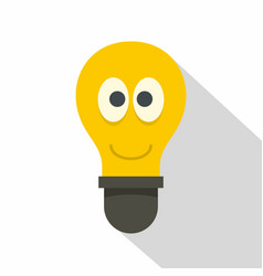 smiling light bulb with eyes icon flat style vector image vector image