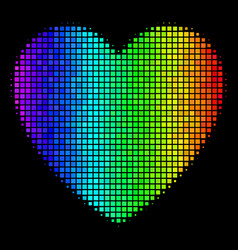 Spectral colored dotted love heart icon vector