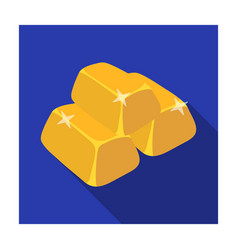 Stack of golden bars icon in flat style isolated vector