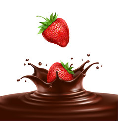 Strawberries dipped in chocolate vector