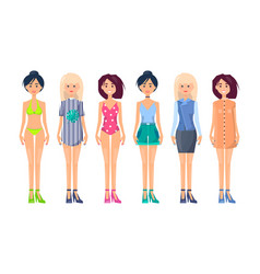 summer vogue apparel on pretty slim girls fashion vector image
