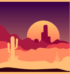 Sunrise in mexican desert landscape with cactus vector