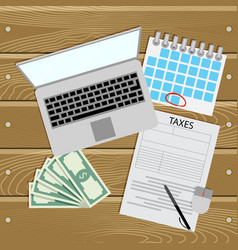 Taxes online pay day for tax vector