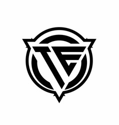 te logo with triangle shape and circle vector image