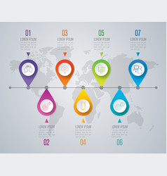 Timeline infographics design with 7 step vector