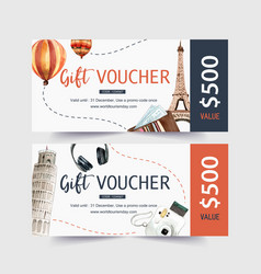 Tourism voucher design with eifel tower leaning vector