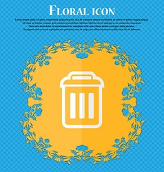 trash Floral flat design on a blue abstract vector image
