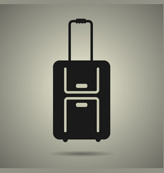 Travel bag icon in black and white style vector
