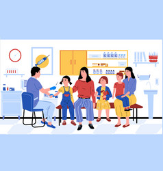 vaccination doctor vaccinates kids and adults vector image