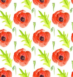 Watercolor poppy in vintage style vector image vector image
