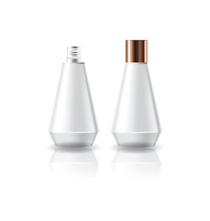 White cosmetic cone shape bottle with screw lid vector