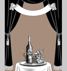wine list template with grapes curtain bottle vector image