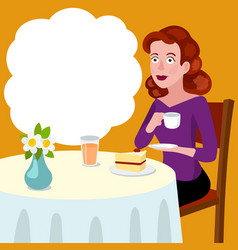 woman at a table in a cafe cartoon vector image
