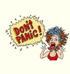 Woman panics and screams in horror vector