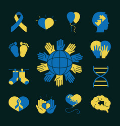 World down syndrome day collection icons dark vector