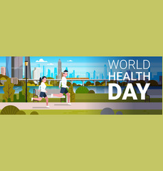 World health day poster with coupleof joggers vector