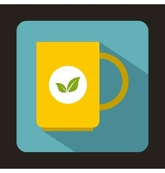 Yellow cup of tea icon in flat style vector image
