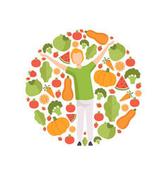 young man surrounded by vegetables and fruits vector image