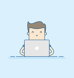 young man working with laptop vector image