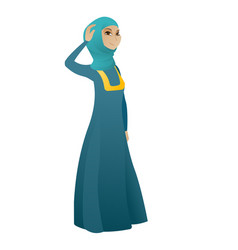 Young muslim business woman scratching her head vector