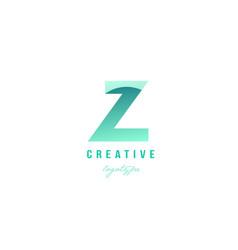 Z green pastel gradient alphabet letter logo icon vector