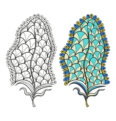 Zentangle stylized tribal feather for coloring vector image